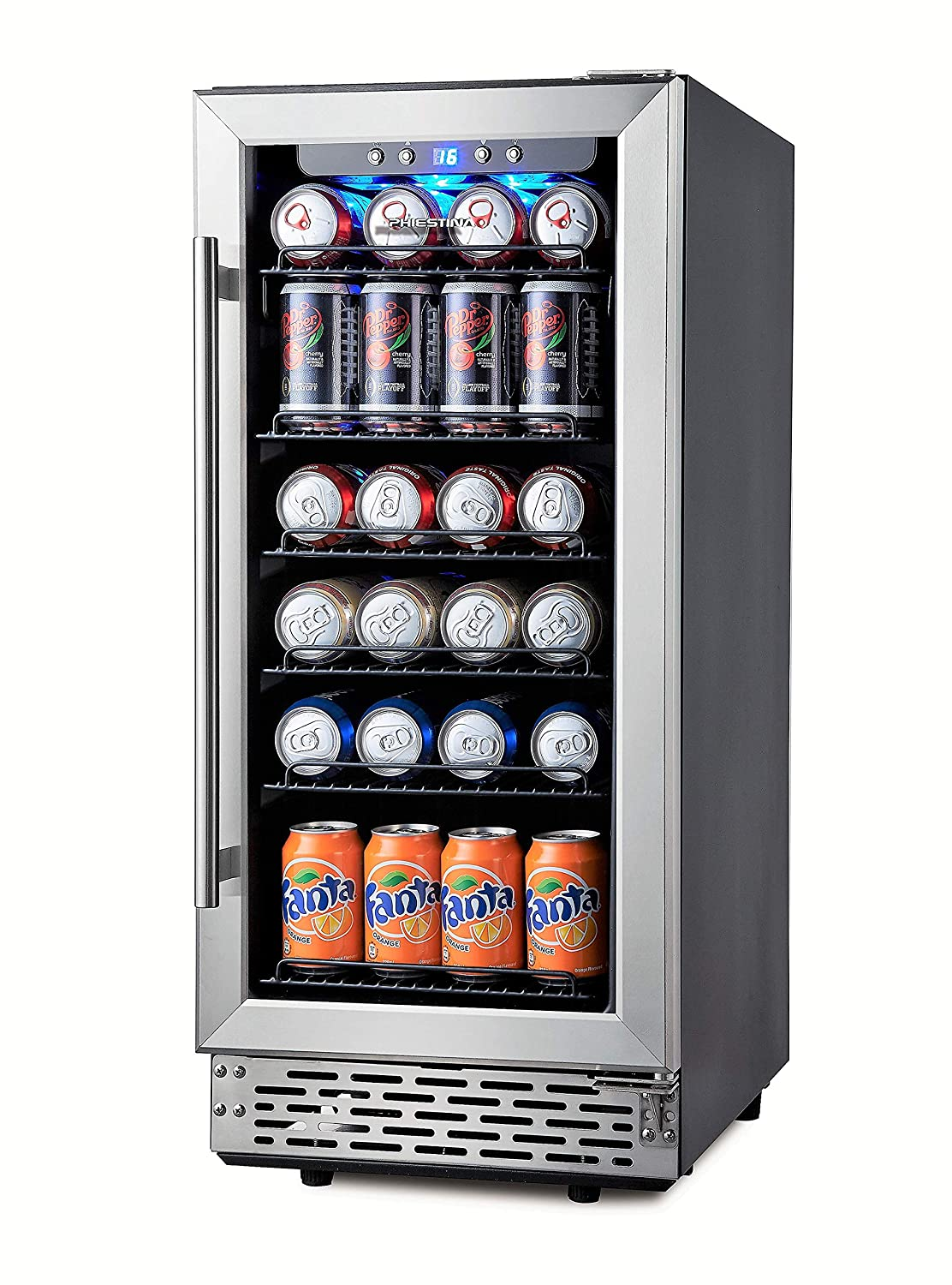 Phiestina 15 Inch Beverage Cooler Refrigerator 96 Can Built-in or Free Standing Beverage Fridge with Glass Door for Soda Beer or Wine Compact Drink Fridge For Home Bar or Office