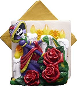 World of Wonders - Catrina Series - Catrina Napkin Holder - Collectible Day of The Dead Sugar Skull Halloween Decorations Napkin Holder DOD Party Skeleton Home Décor Kitchen & Dining Accent