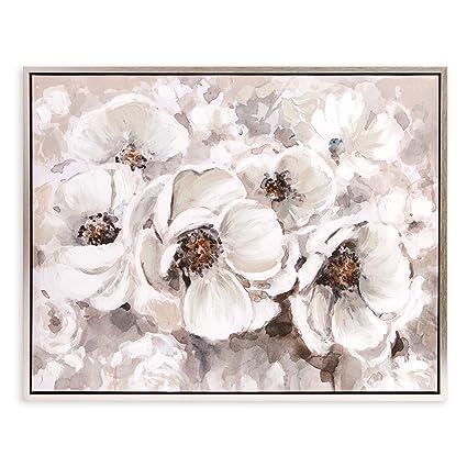 73aaeb29e637 Amazon.com  Patton Wall Decor Ivory Flowers Framed Art