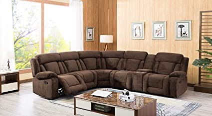 Amazon.com: Esofastore Casual Classic Look Sectional Sofa Dark Brown ...