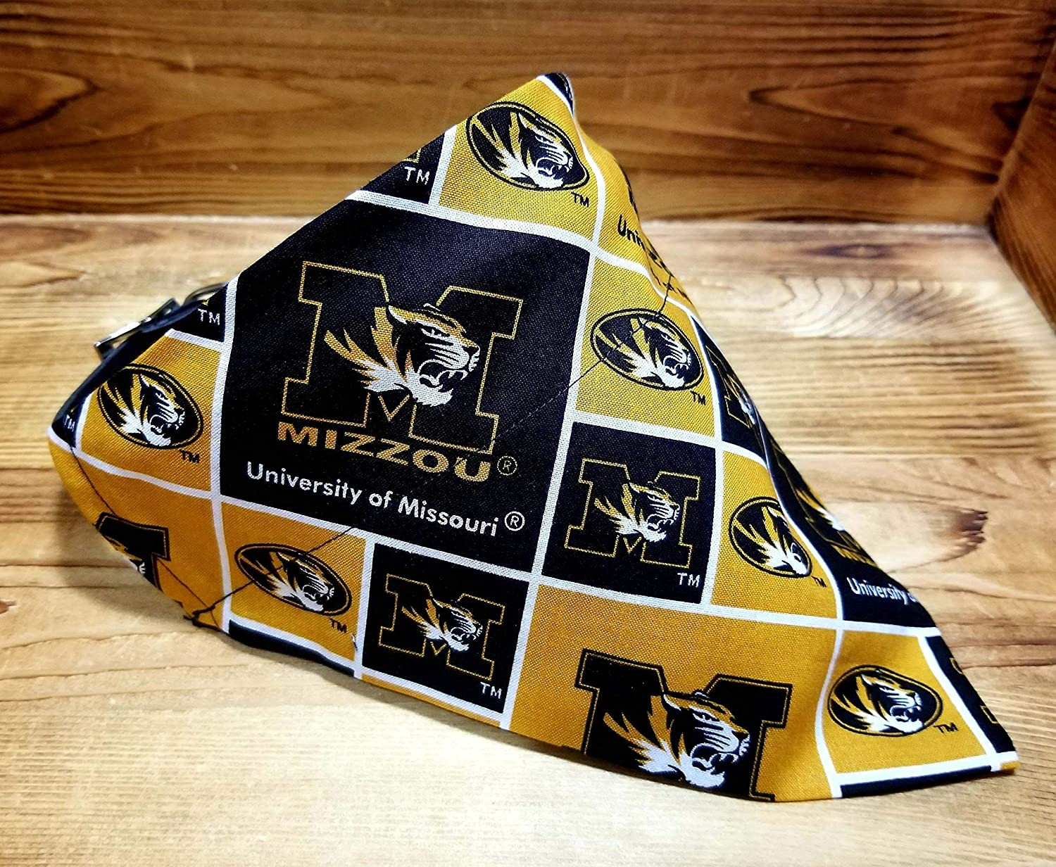 Missouri University Tigers (MIZZOU) Pet No-Tie Dog Bandana Over the Collar Kerchief