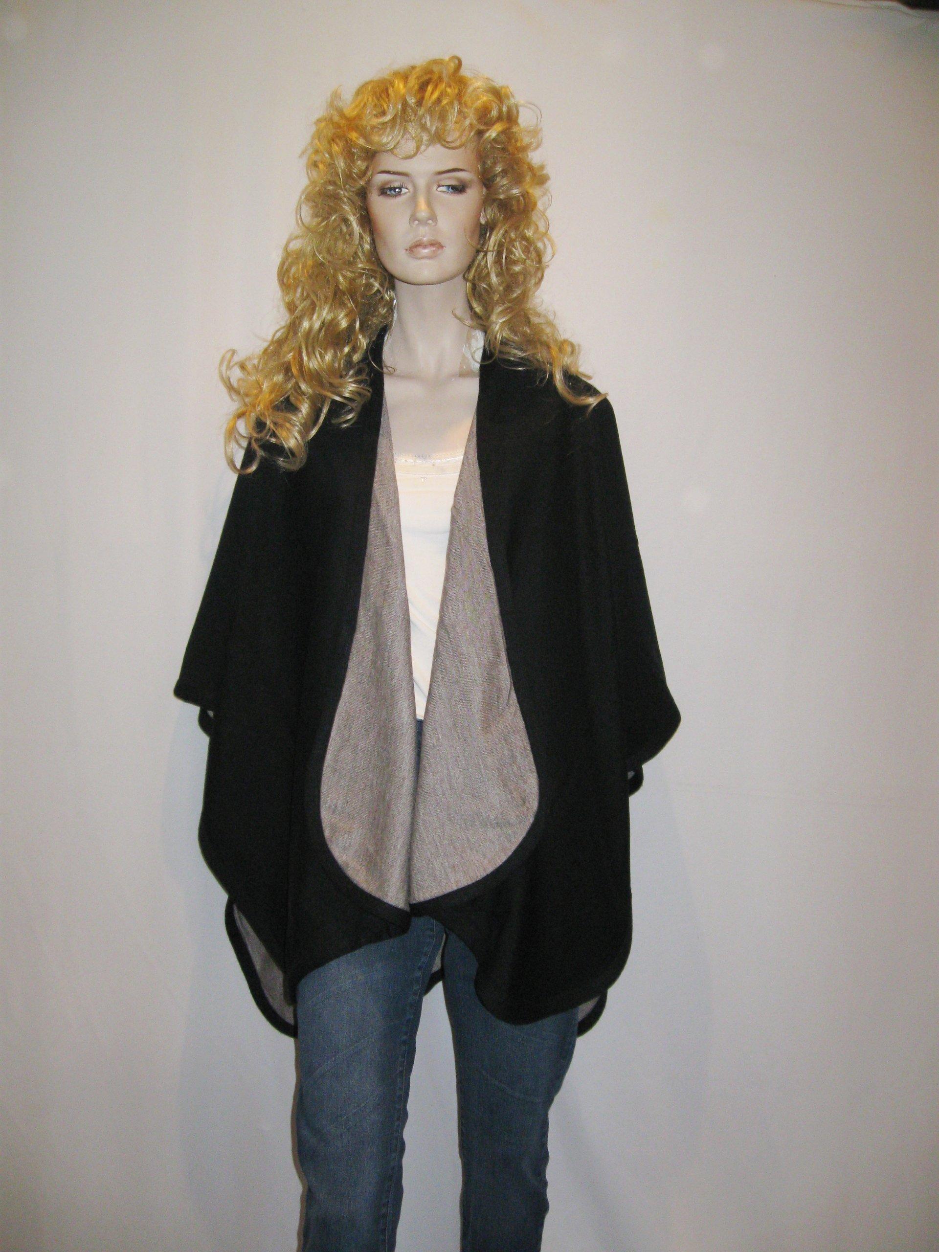 Cashmere Pashmina Group- Cape Woolen Reversible Ruana Knitted Poncho Shawl Cardigans Sweater Coat (Black/ Stone) by Cashmere Pashmina Group (Image #8)