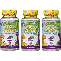 KAL Relax-a-Saurus   Stress Support for Kids   L-Theanine Relaxation Blend for Children   Sugar Free, Grape Flavor…