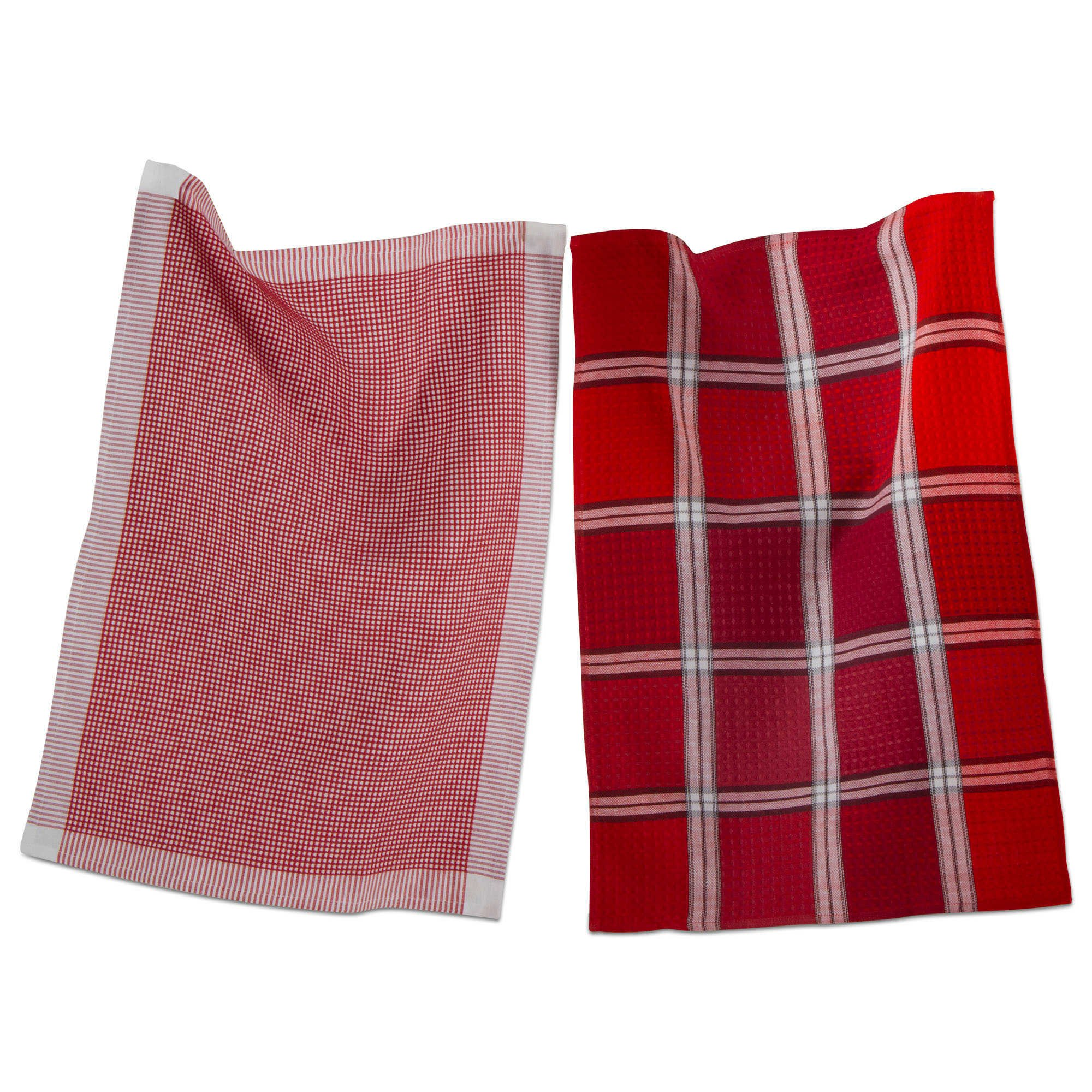 Tag Cotton Dishtowel Woven Kitchen Striped Checkered Waffleweave Red Set of 2