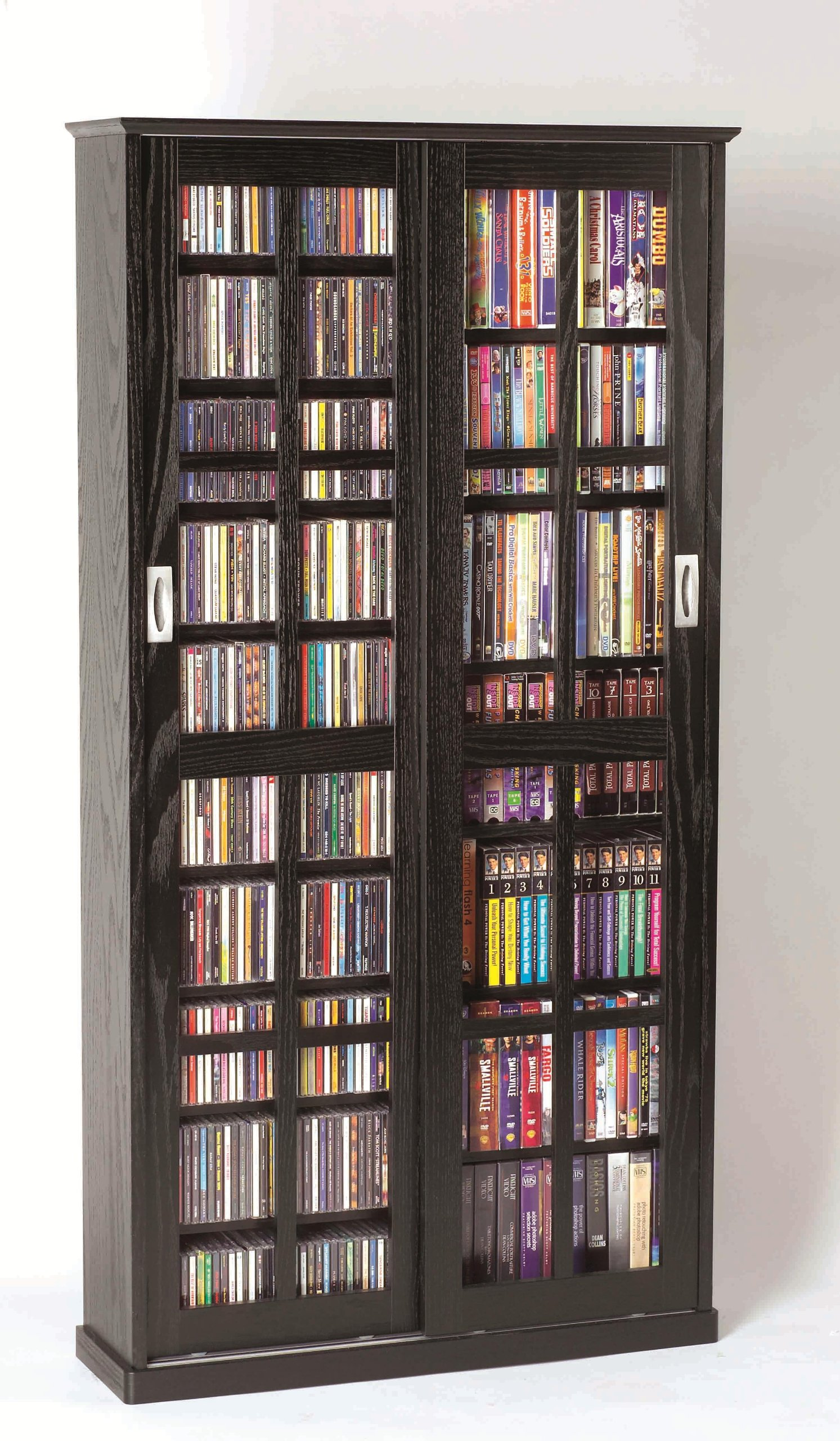 Leslie Dame MS-700B Sliding Glass Mission Style Door CD Storage Cabinet, Black by Leslie Dame Enterprises