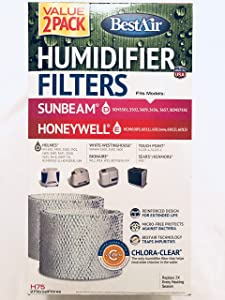"BestAir H75-2 Pack, Holmes Replacement, Paper Wick Humidifier Filter, 7.9"" x 2.6"" x 14"""