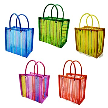 Small Mercado Candy Tote Bags for Mexican Theme Party (10 Pack) - Fiesta Favors, Gifts, Supplies and...