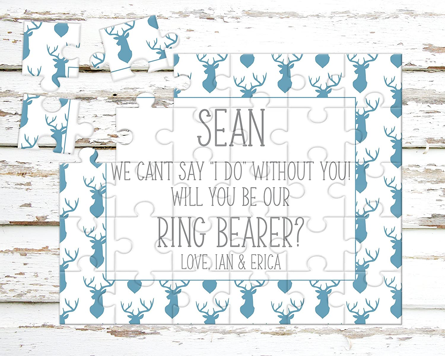 Asking Ring Bearer Puzzle Proposal Wedding Announcement P1182 Personalized Ring Bearer Puzzle