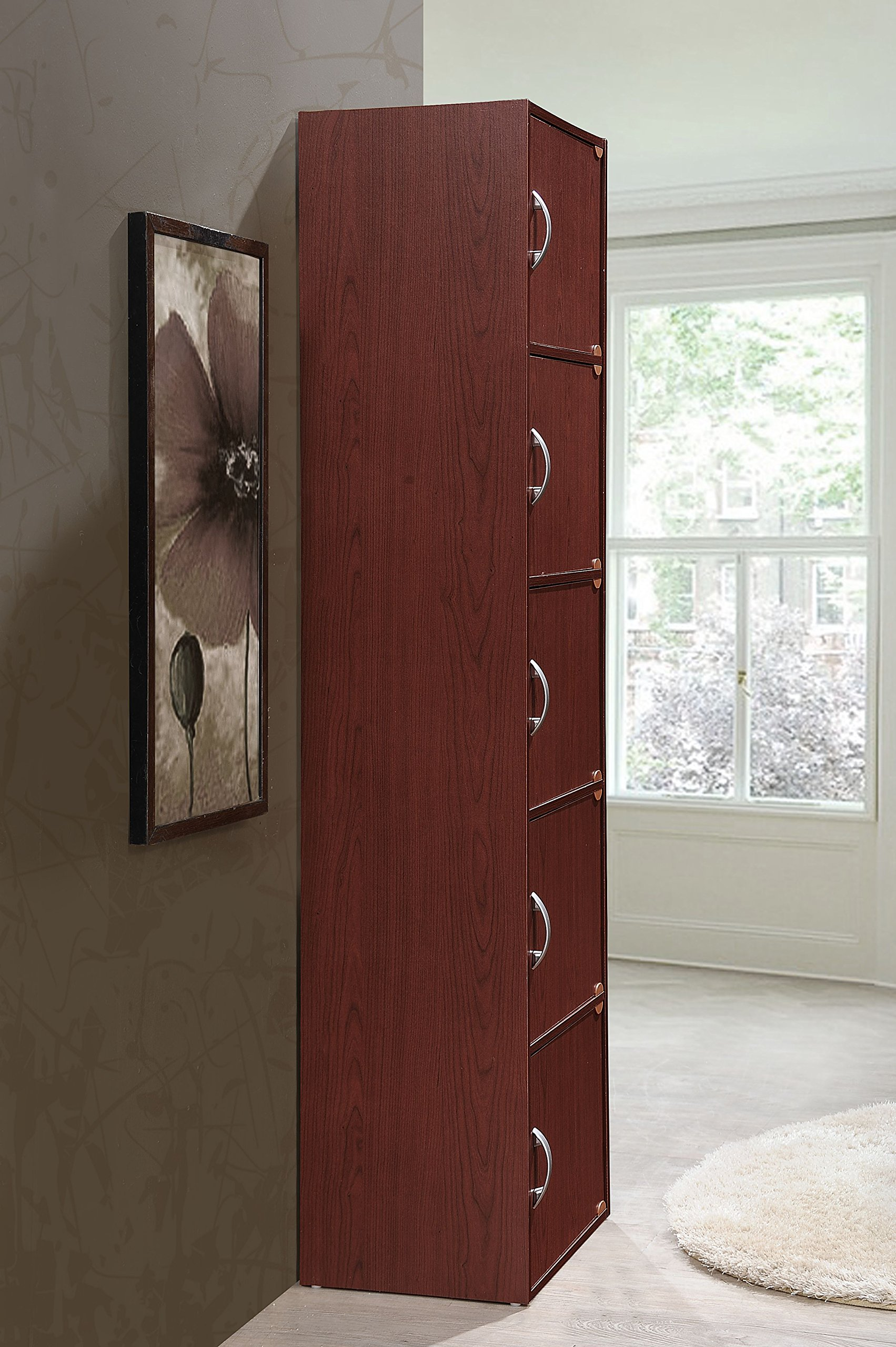 Hodedah 5 Door, Five Shleves, Enclosed Storage Cabinet, Mahogany by HODEDAH IMPORT (Image #3)