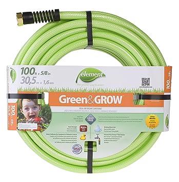 Element Greenu0026GROW Lead Free Garden Hose, 100 Ft With 5/8u0026quot; Diameter