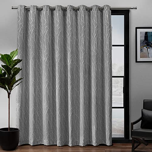 Exclusive Home Curtains Forest Hill Woven Blackout Grommet Top Single Curtain Panel, 108X84, Ash Grey