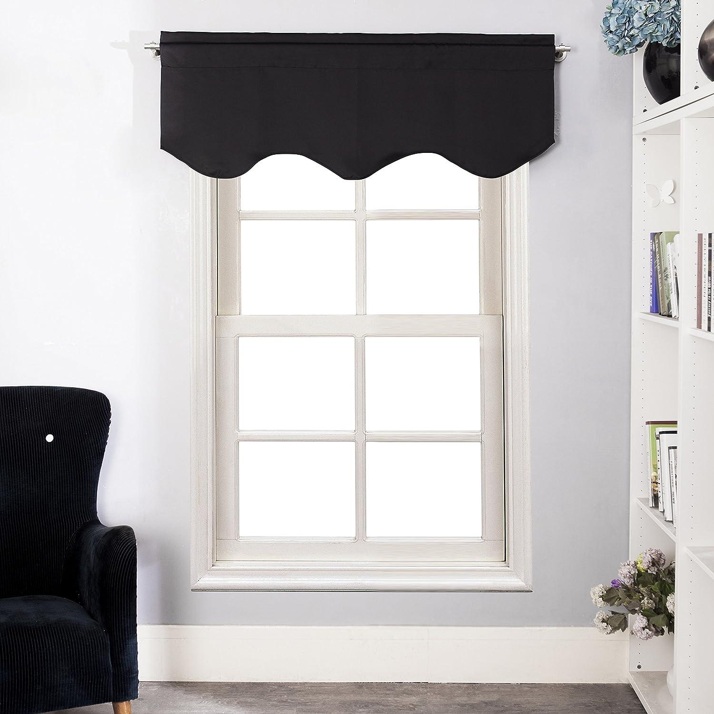 Aquazolax isolamento termico tende oscuranti solido, Tessuto, Nero, Valance, 52 x 18(132cm x 45cm), 1 Pezzo Set