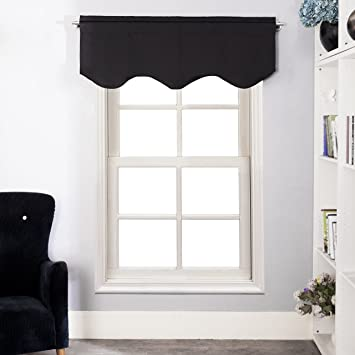 Aquazolax Readymade Blackout Window Scalloped Valance Curtains, 52inch By  18inch, Black, 1 Piece