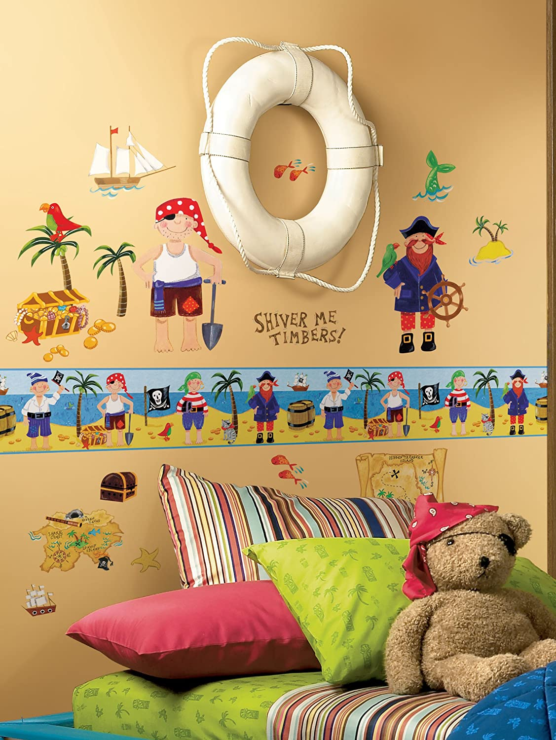 Roommates Repositionable Childrens Wall Sticker Border Pirate