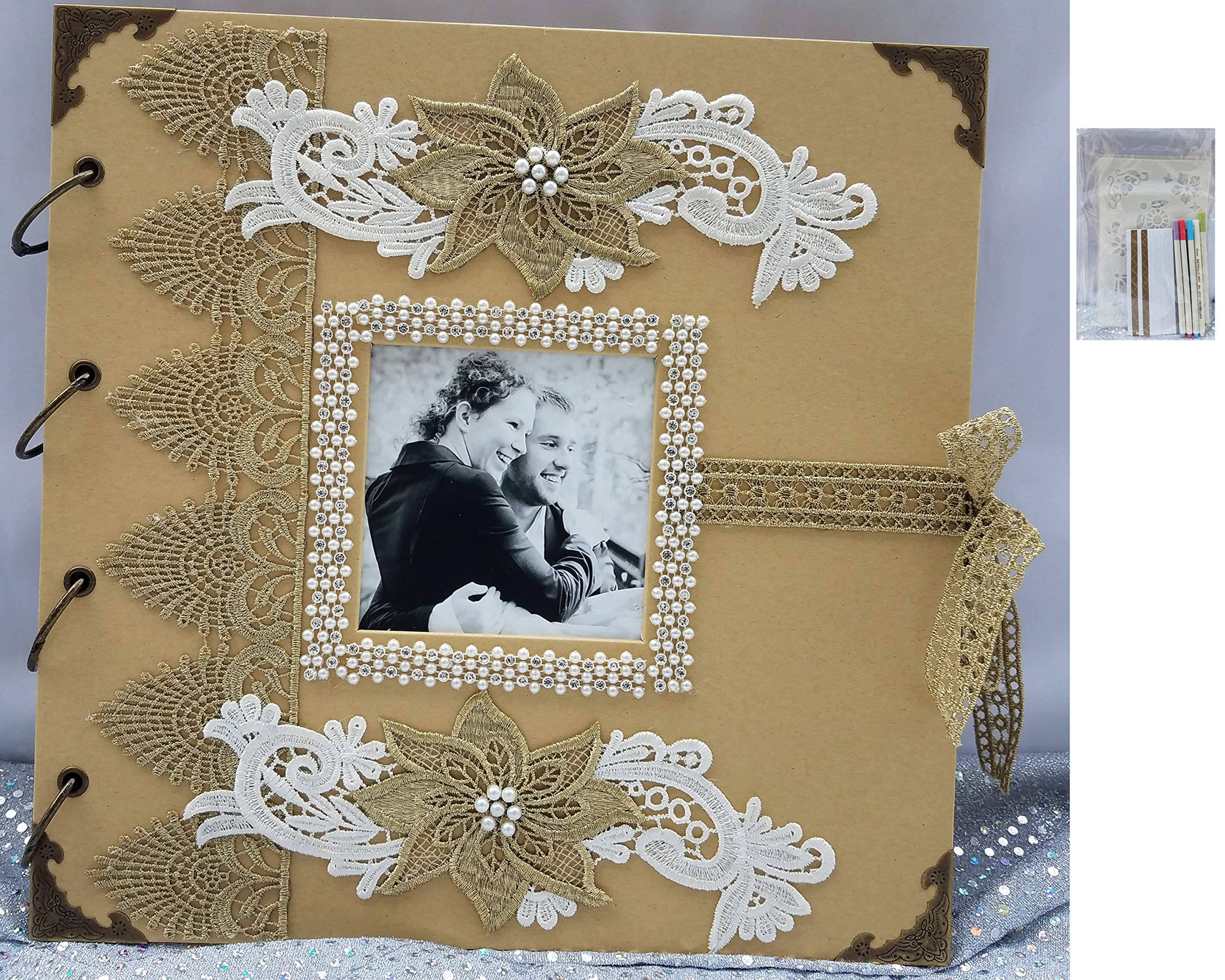 Towdah Perez Large Vintage Wedding Scrapbook Album Wedding Polaroid Photo Guest Book Memory Guest Book. Hand-Decorated with lace, Flowers, Pearls, Bling, Crotchet lace Ribbon tie. 100 Pages (Gold)