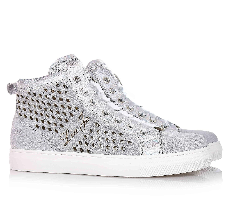 Silberne Sneakers Und LochmusterAus Leder Jo Wildleder Liu Mit jqc35AL4R