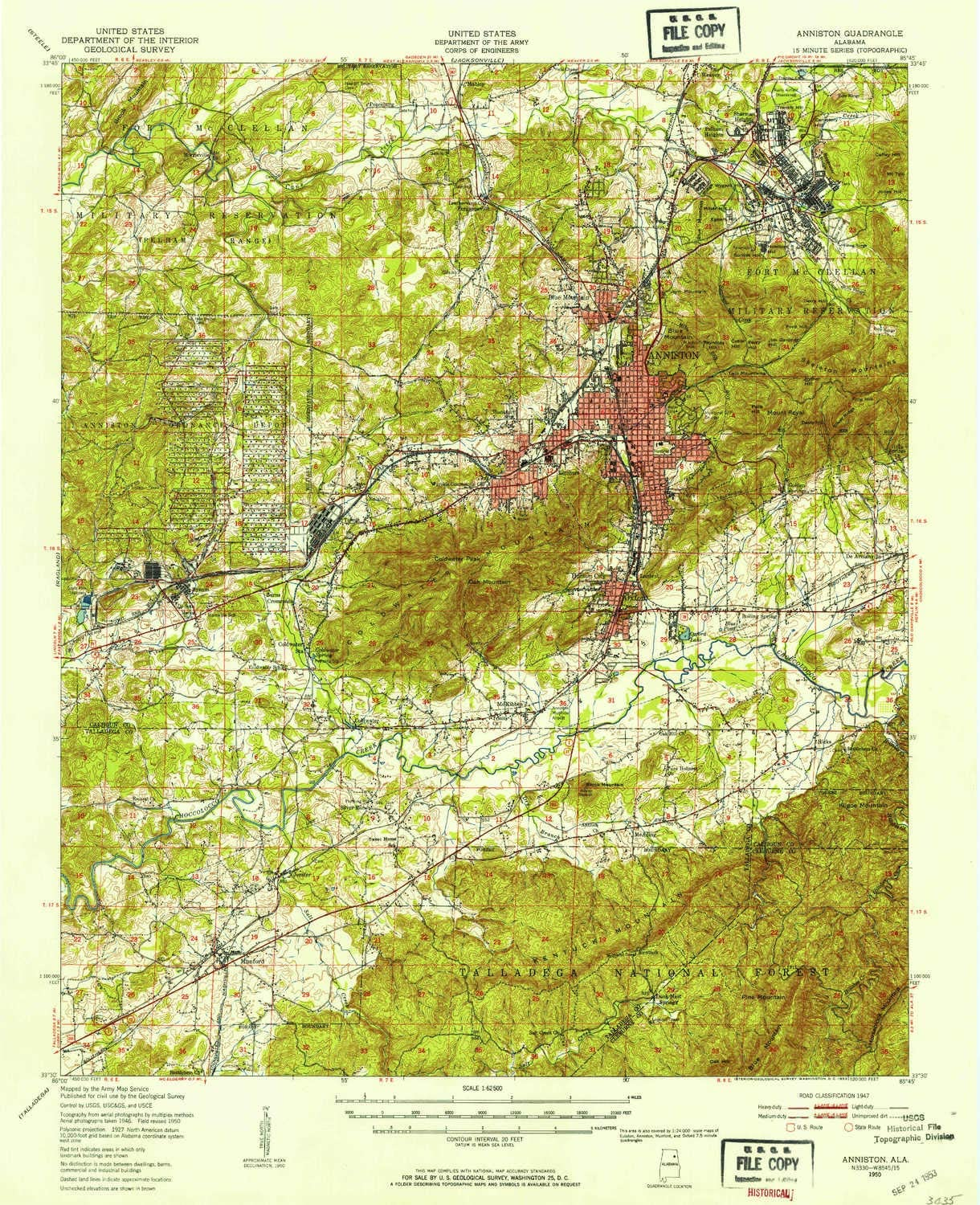YellowMaps Anniston AL topo map, 1:62500 Scale, 15 X 15 Minute, Historical, 1950, Updated 1953, 20.8 x 16.9 in