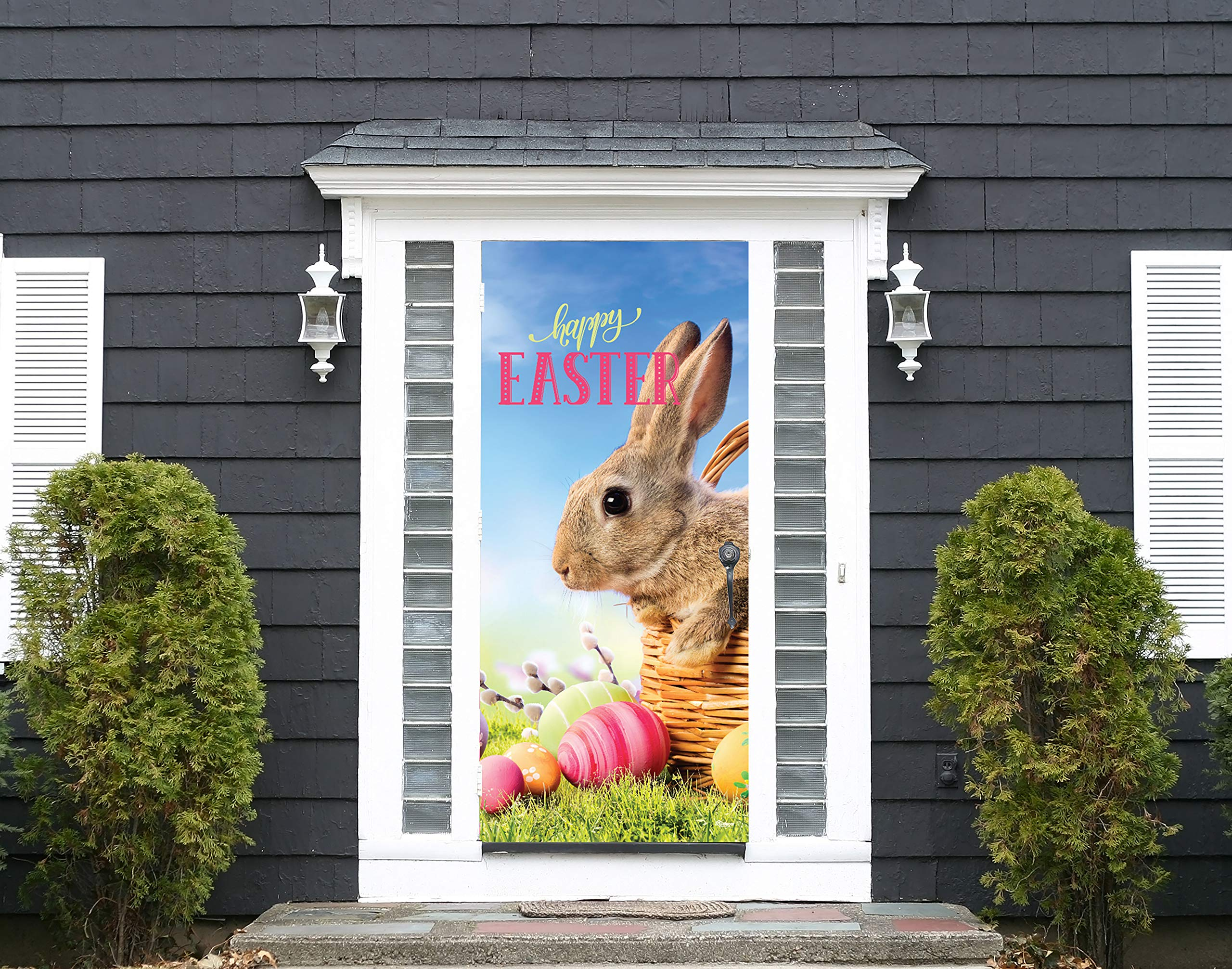 Victory Corps Happy Easter Bunny Basket - Holiday Front Door Banner Mural Sign Décor 36'' x 80'' Front Door - The Original Holiday Front Door Banner Decor
