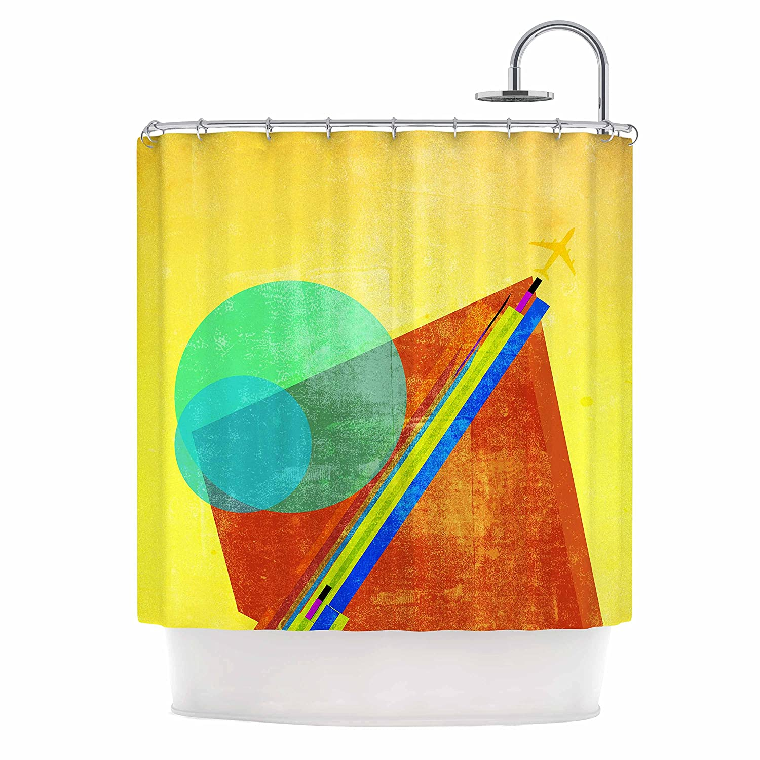 Kess InHouse Frederic Levy-Hadida Landing Blue Yellow Mixed Media Geometric 69 x 70 Shower Curtain