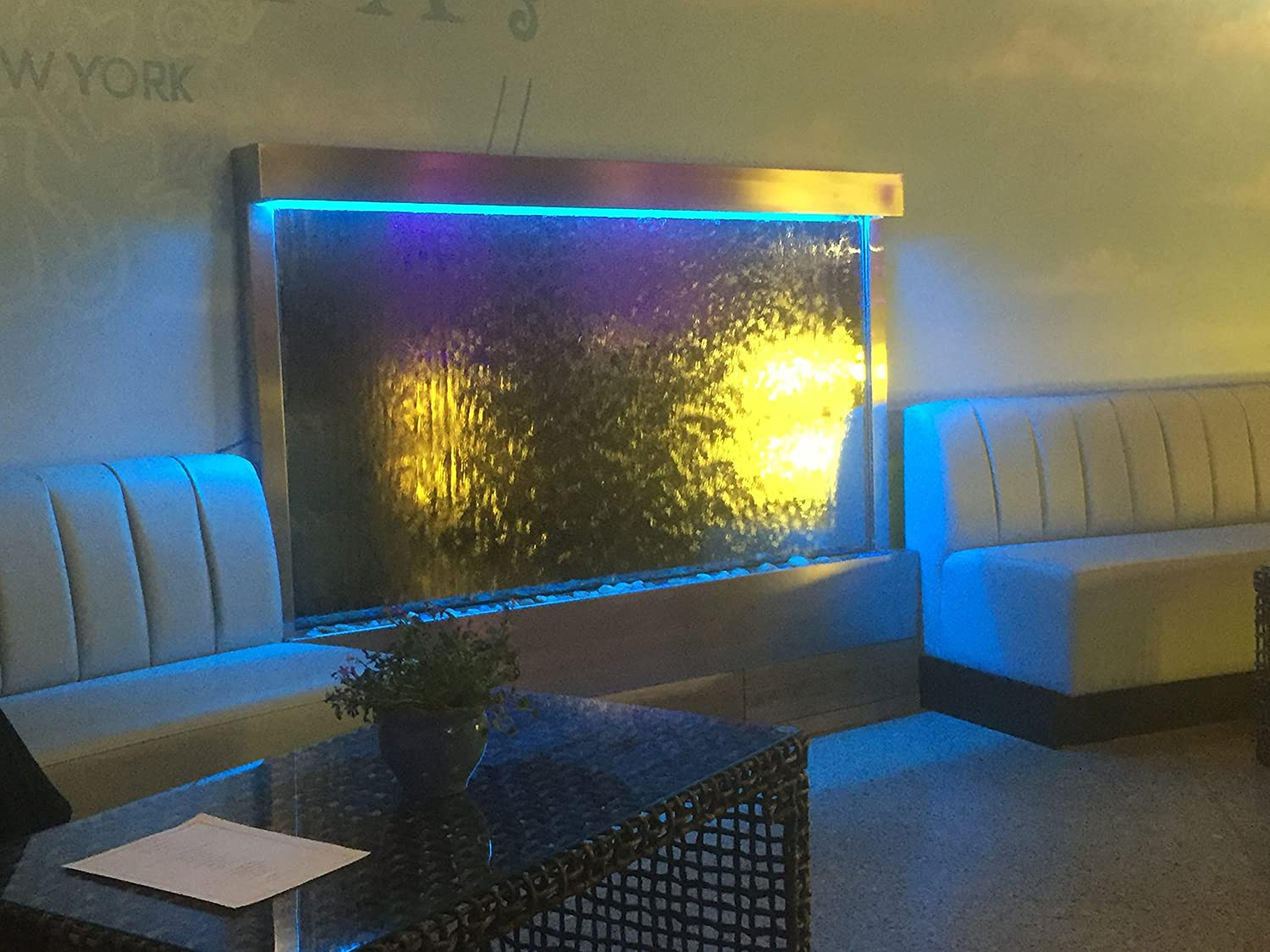 """Jersey Home Decor Waterfall XXL Jumbo 72""""x48"""" Wall Fountain, Stainless Steel,Mirror Glass, Color Lights, Remote Ctrl"""