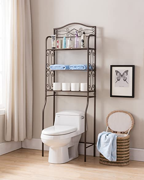 Pewter Metal 3 Tier Over The Toilet Storage Etagere Bathroom Rack Shelves  Organizer