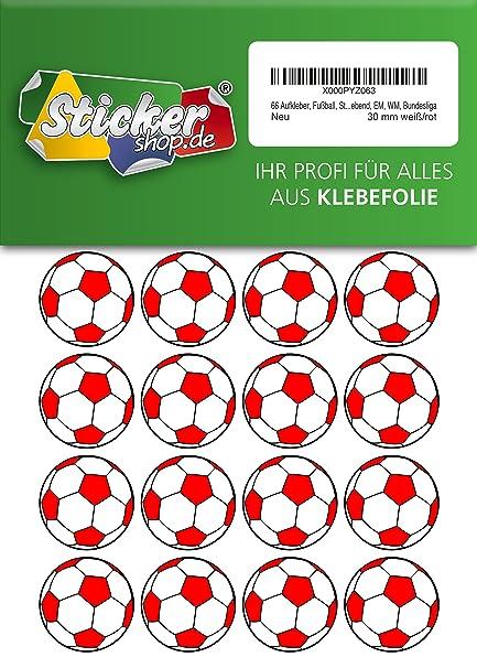66, Fútbol, pegatinas, 30 mm, blanco/rojo, de PVC, pantalla ...