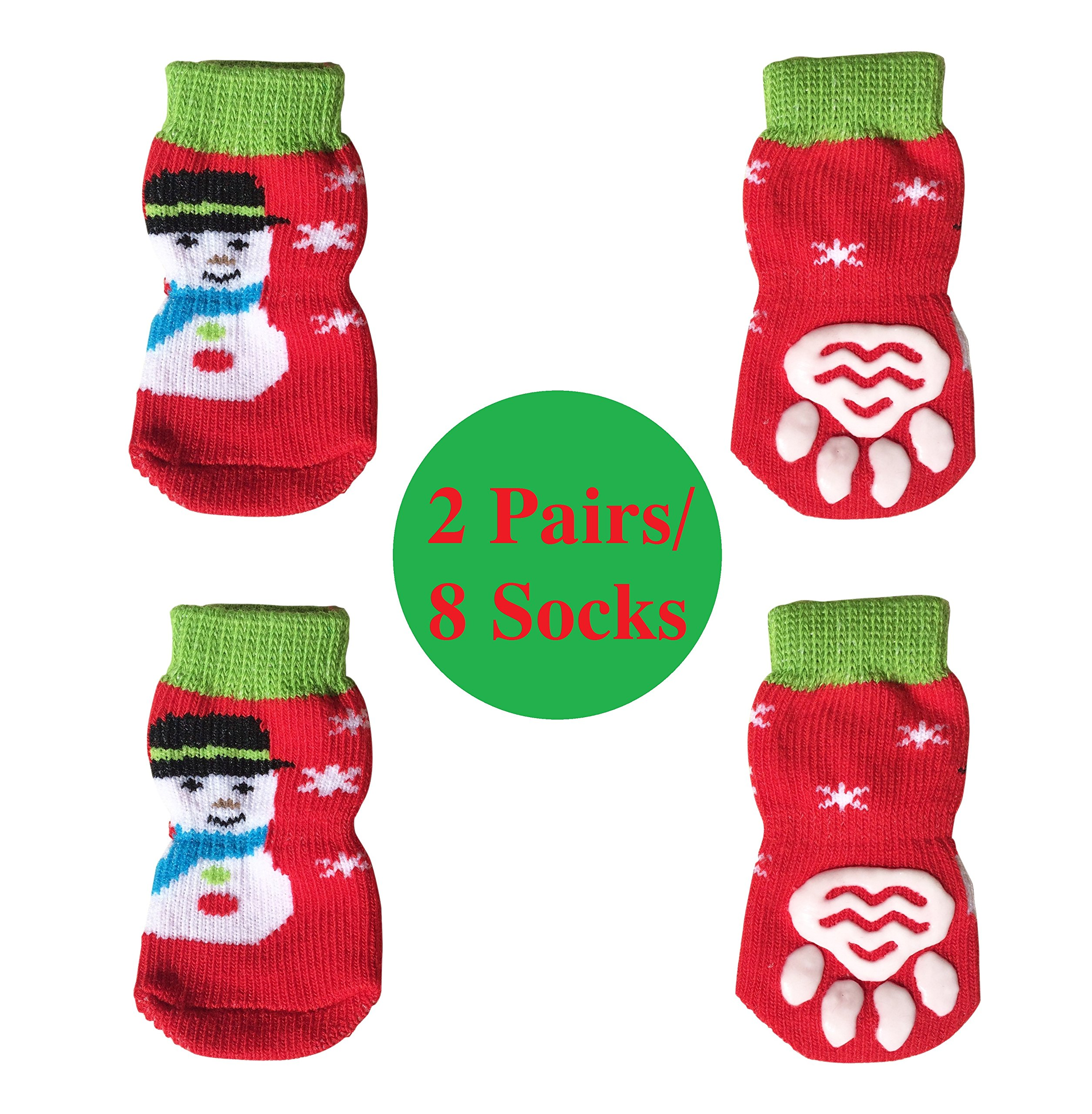 FUNPET 2 Pcs Christmas Dog Socks Protect Paws with Knit Anti-Slip Traction Soles for Pet Cats and Puppies M
