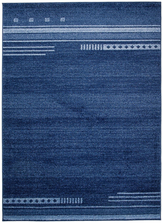 Carpeto Teppich Modern Blau 200 x 290 cm Gestreift Muster Oslo Kollektion