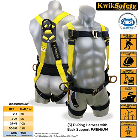 KwikSafety 3D Ring Industrial Fall Protection Safety Harness W/ Back  Support | OSHA Approved Full