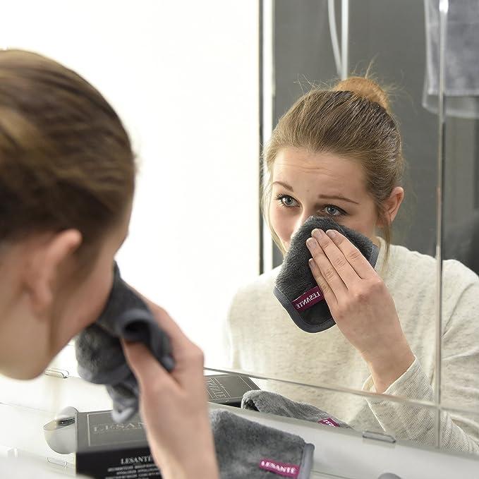 Toalla desmaquillante de microfibra y alta calidad   Reutilizable y Ultra fina   Sólo se usa con agua   tejido facial hipoalergénico   Juego de 2 ...
