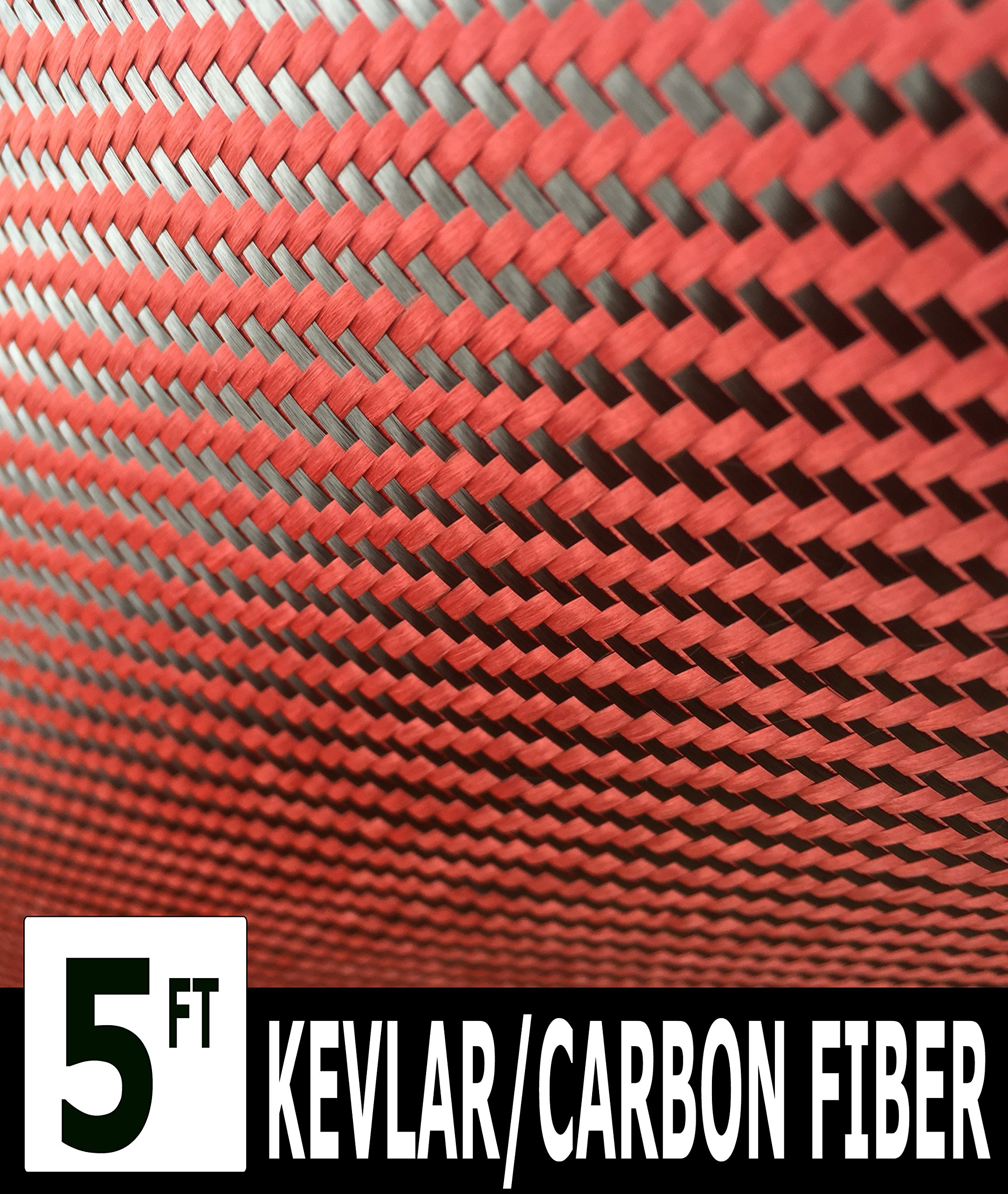 Kevlar (Red - 5 Ft x 1Mtr) Carbon Fiber Fabric-Twill WEAVE-3K/200g by Unknown
