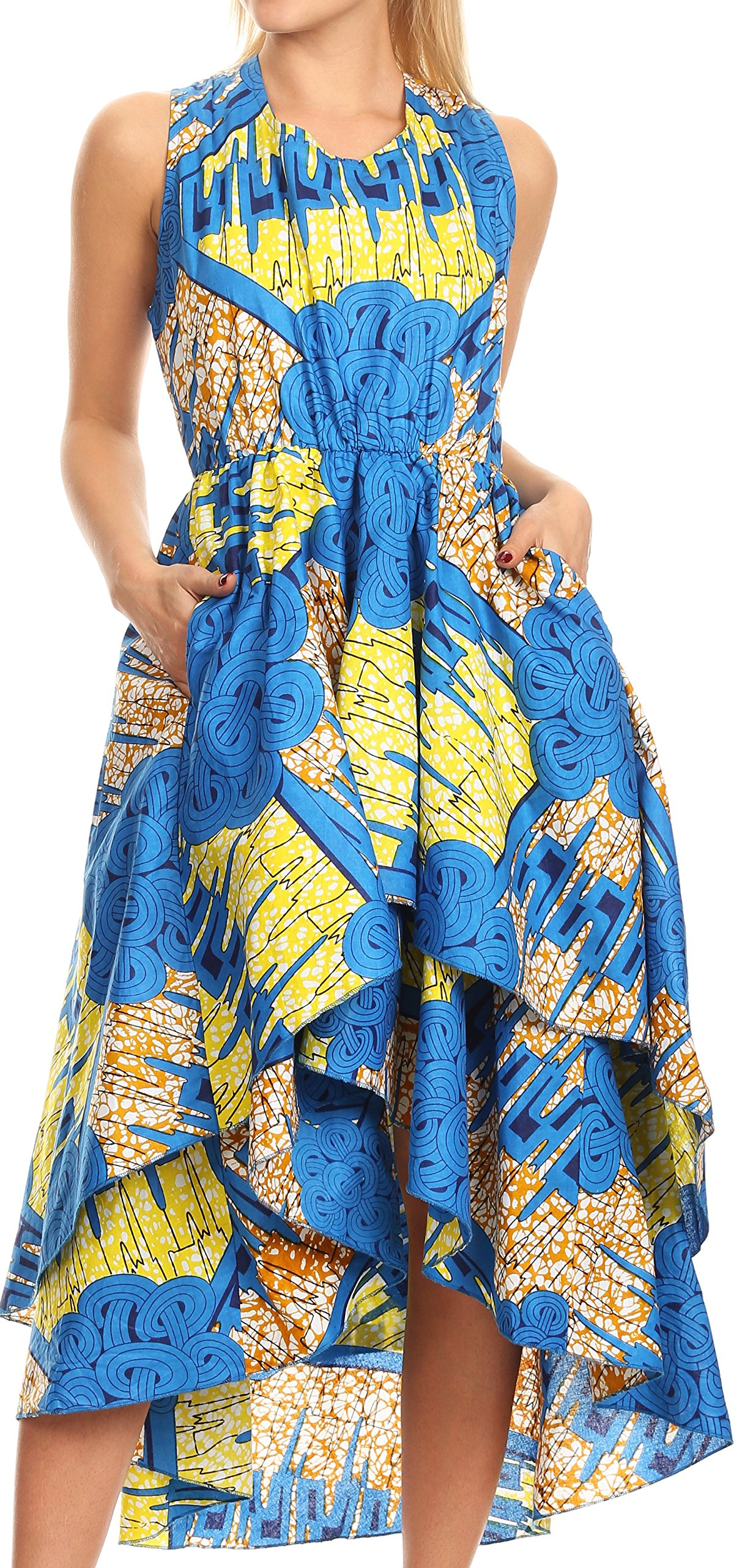 Sakkas WD1624 - ADA Ankara Wax Dutch African Sleeveless Dress Cascading Hi Low Layers - 1145 Turq/Lemon-Deco - OS