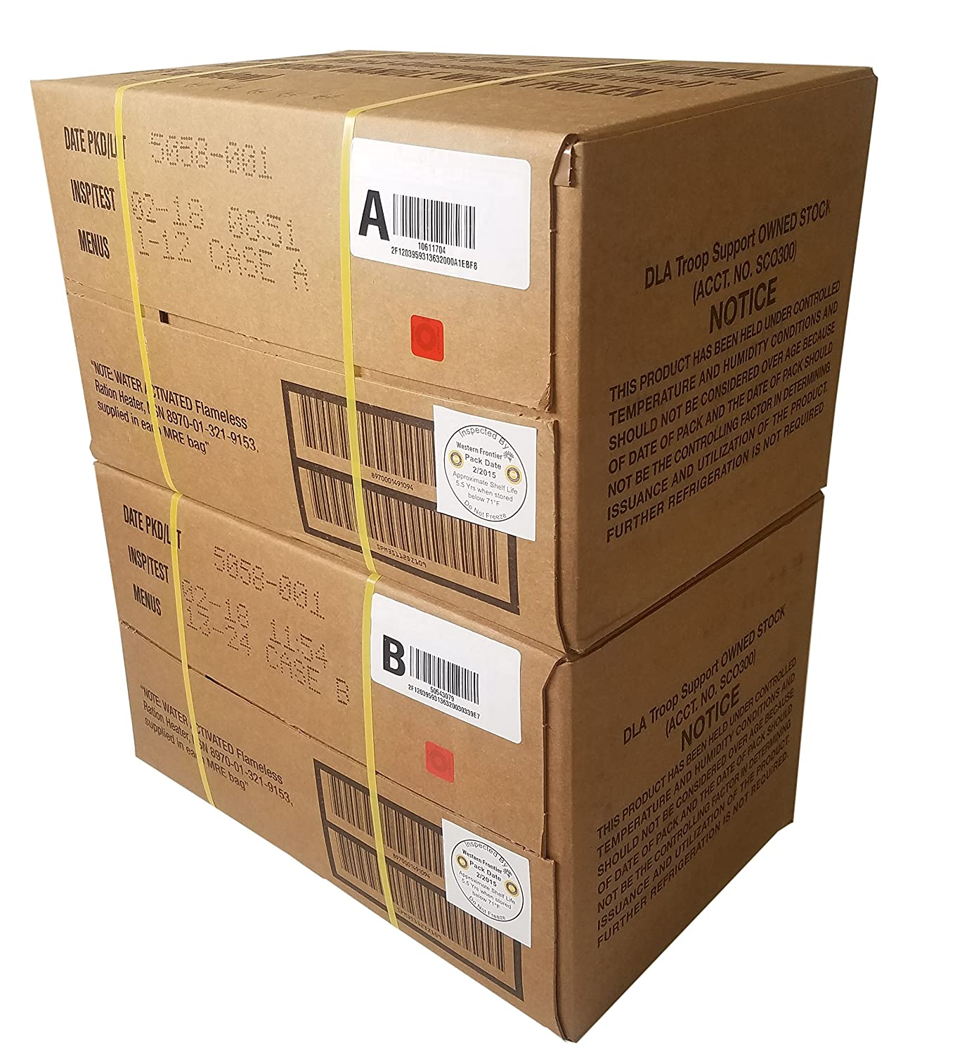 ULTIMATE MRE Case A and Case B Bundle, 24 Meals with 2018 Inspection Date   Military Surplus Meal Ready to Eat with Western Frontier's Inspection and