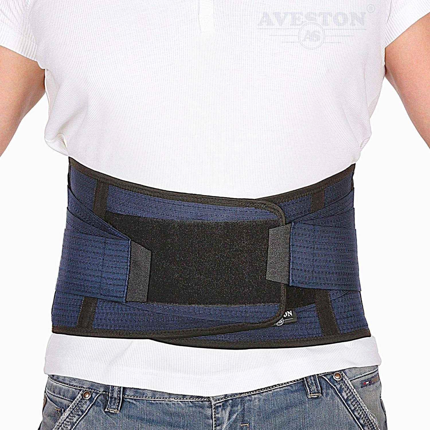 "Back Support Lower Back Brace provides Back Pain Relief - Breathable Lumbar Support Belt for Men and Women keeps your Spine Straight and Safe - Medium size 32''- 37"" at Navel level"