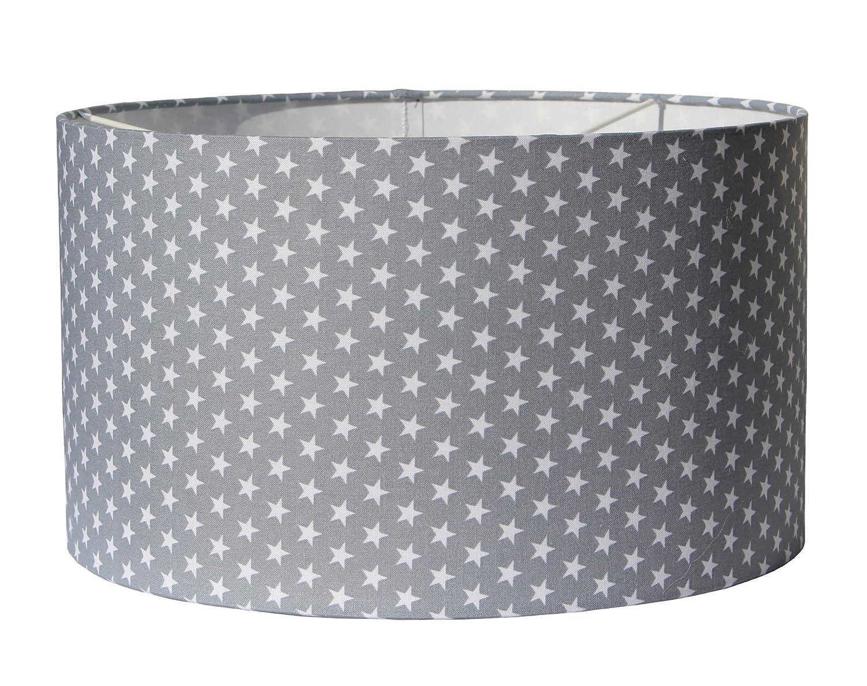 Lampenschirm Sterne textile Bespannung in 2 Größen und 5 Farben (Ø 30 cm, hellgrau) Serenotex