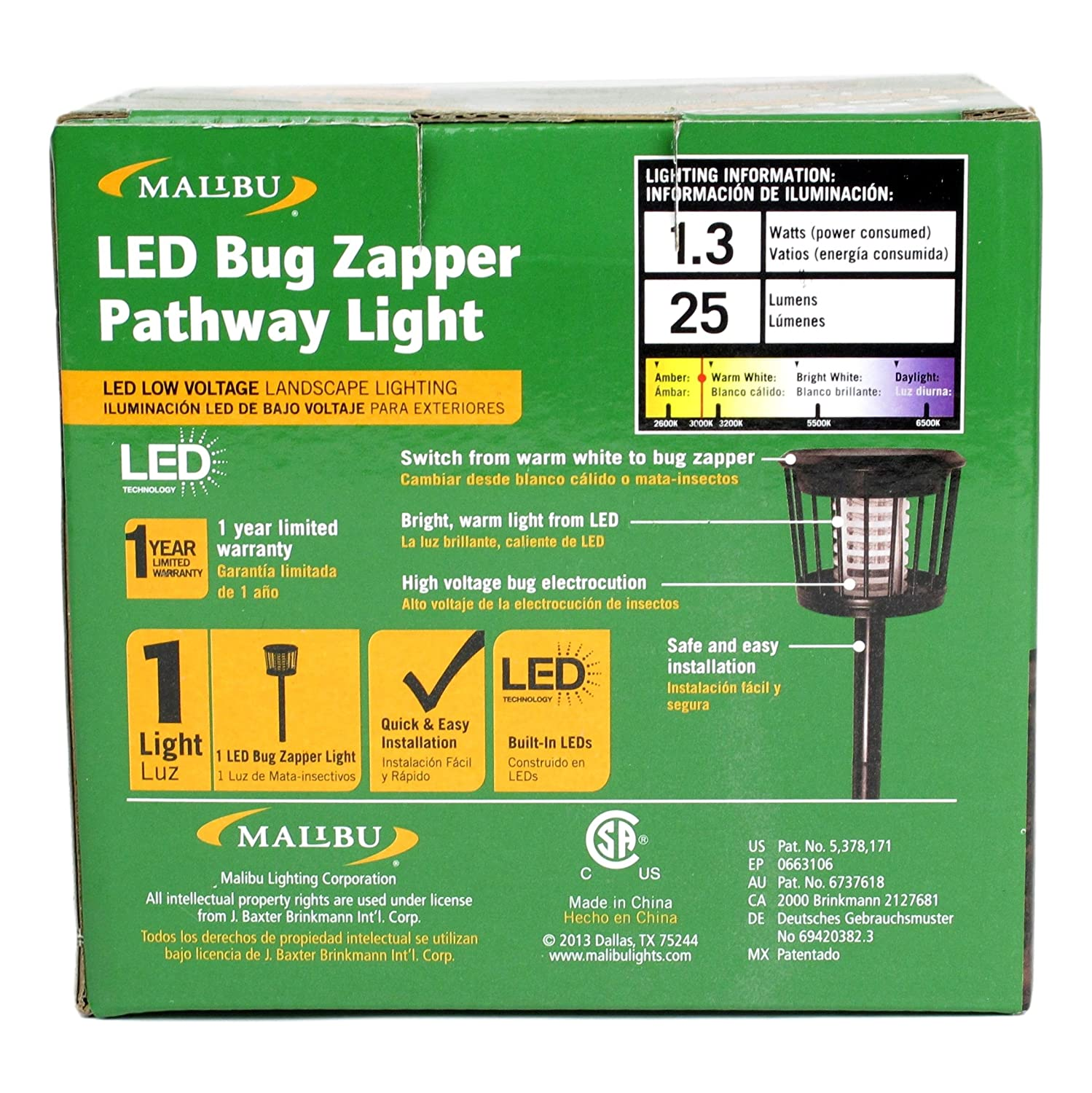 Malibu LED Bug Zapper Pathway Landscape Light, Black Metal, Zaps Bugs and Mosquitos - - Amazon.com