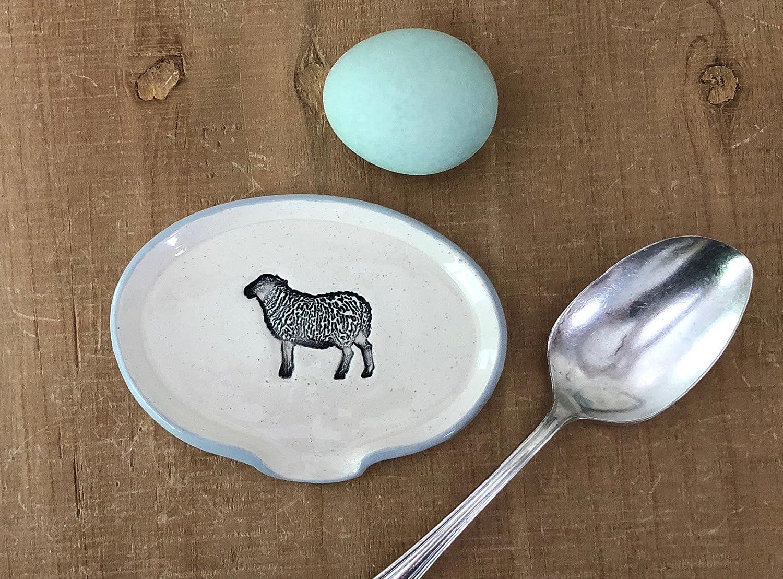 Farmhouse Inspired Black Sheep Spoon Rest, Handmade Pottery