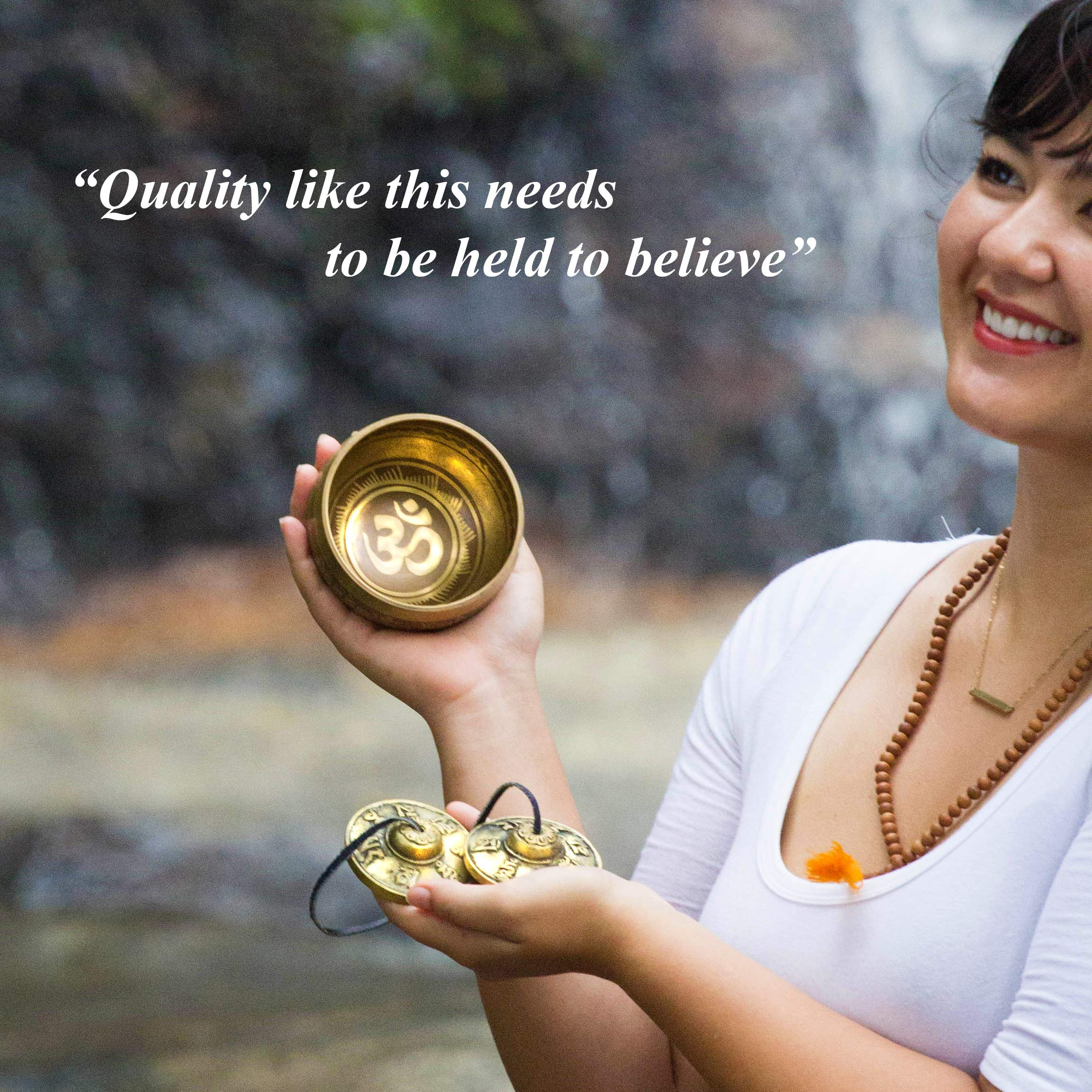 Tingsha Tibetan Singing Bowl Set by Zen Mind Design - with Tingsha Cymbals, Weighted Mallet, Handmade Cushion, Eco-Friendly Box and E-Book - for Yoga and Stress Relief Meditation by Zen Mind Design (Image #5)