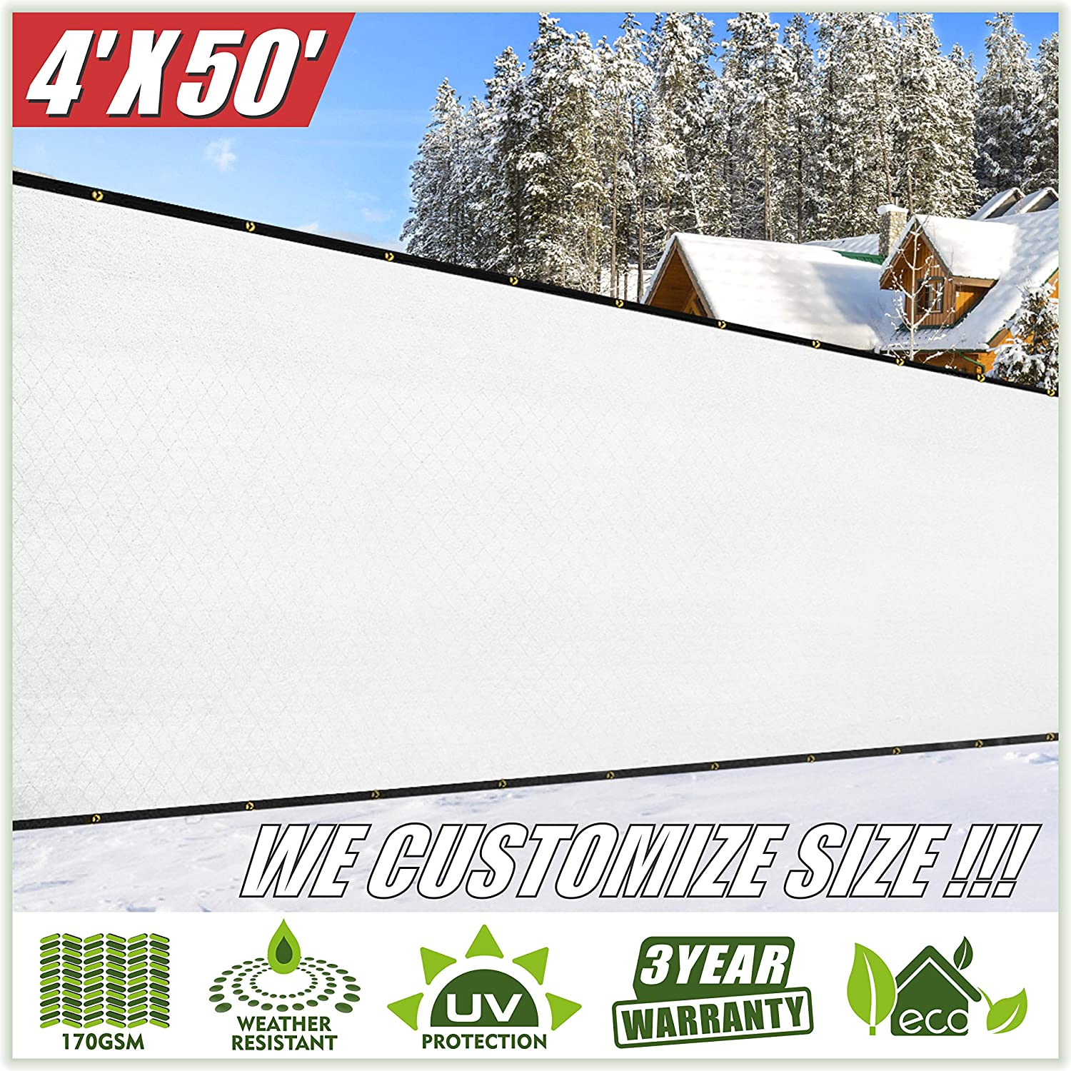 ColourTree 4' x 50' White Fence Privacy Screen Windscreen Cover Fabric Shade Tarp Netting Mesh Cloth - Commercial Grade 170 GSM - Heavy Duty - 3 Years Warranty - We Make Custom Size