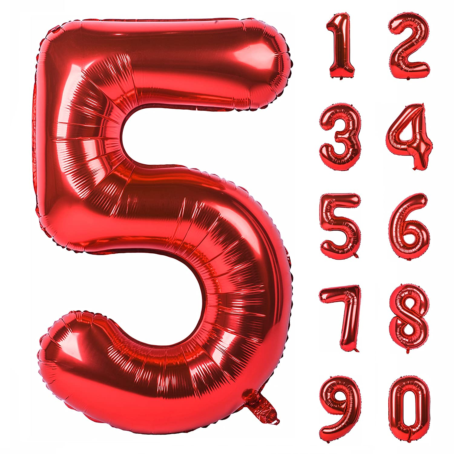 40 Inch Red Large Numbers 0-9 Birthday Party Decorations Helium Foil Mylar Big Number Balloon Digital 1 Angel&tribe