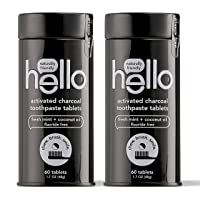 Hello Activated Charcoal Whitening Toothpaste Tablets Gently Remove Surface Stains...