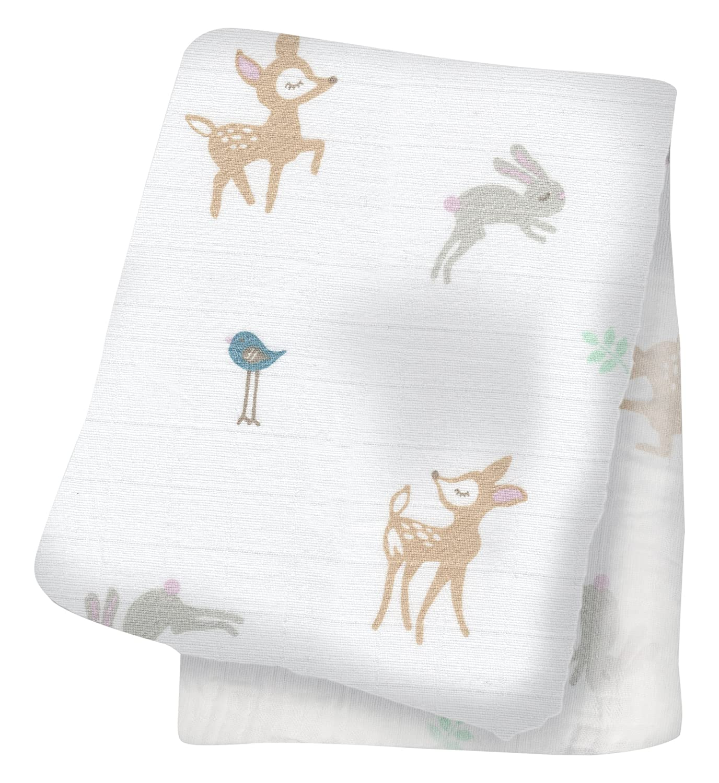 White Lulujo Little Fawn Swaddling Blanket