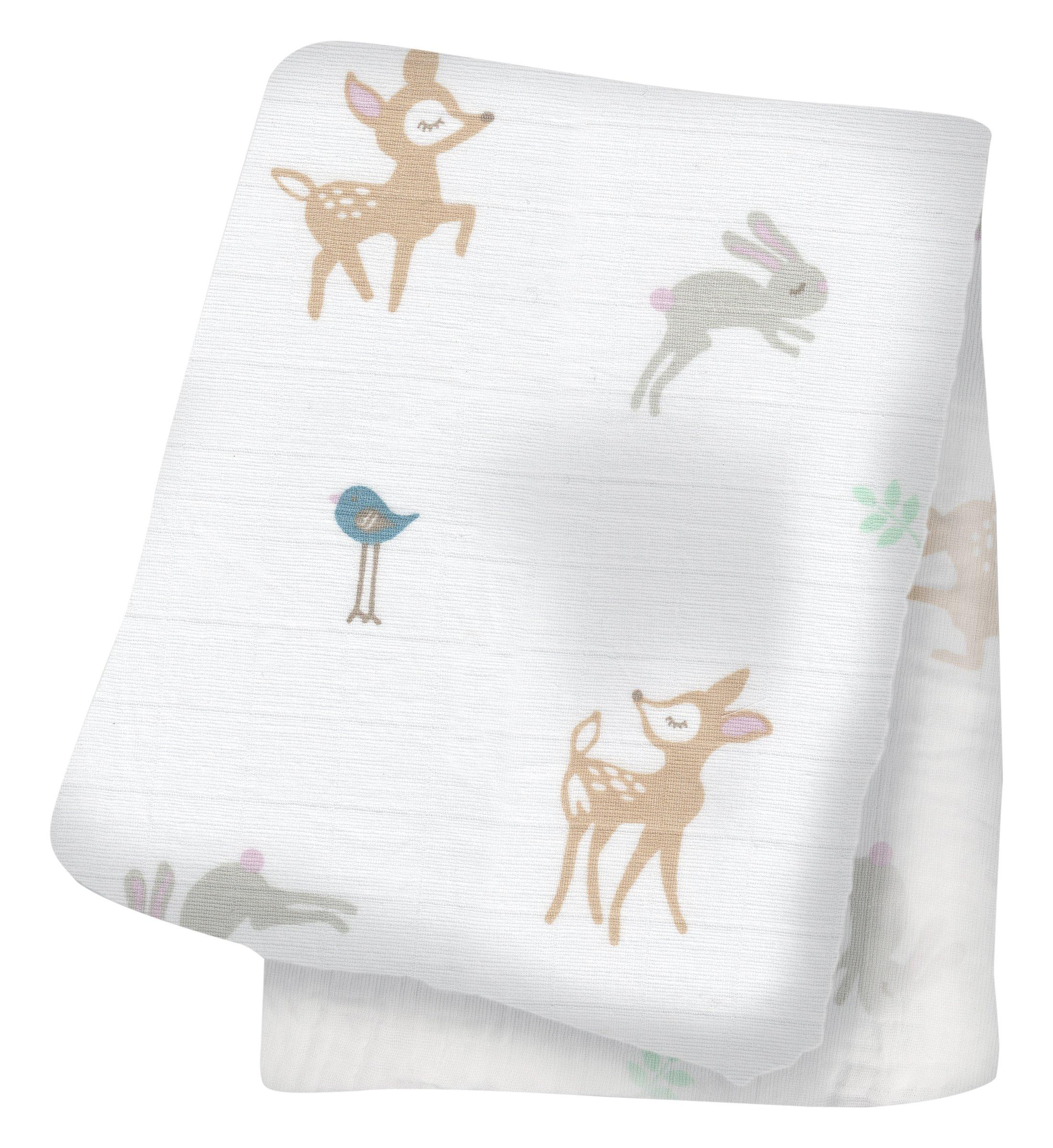 Lulujo Little Fawn Swaddling Blanket, White product image