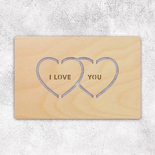 Amazon Com Hearts Wooden Greeting Card Card For Husband Boyfriend