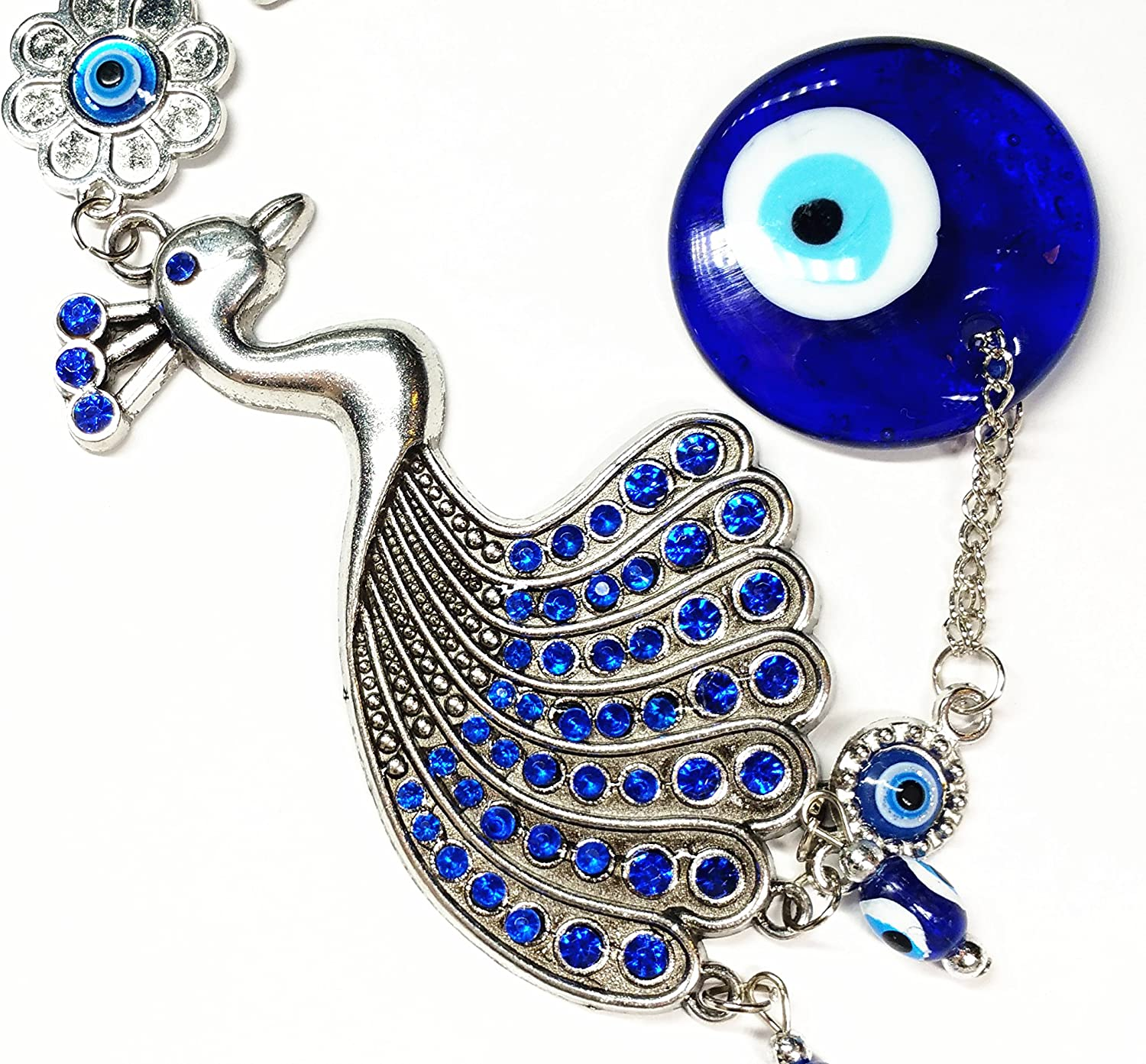 With a Betterdecor Pounch -056 No Model Blue Evil Eye with Peacock Hanging for Protection