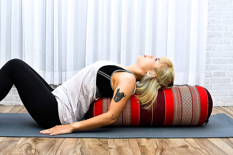 65x25x25 cm Leewadee Grande Yoga Bolster Redondo Pilates Almohadilla De Yoga Larga Almohadas Cervicales Reposacabezas Org/ánico Naturalmente Ecol/ógico Capok