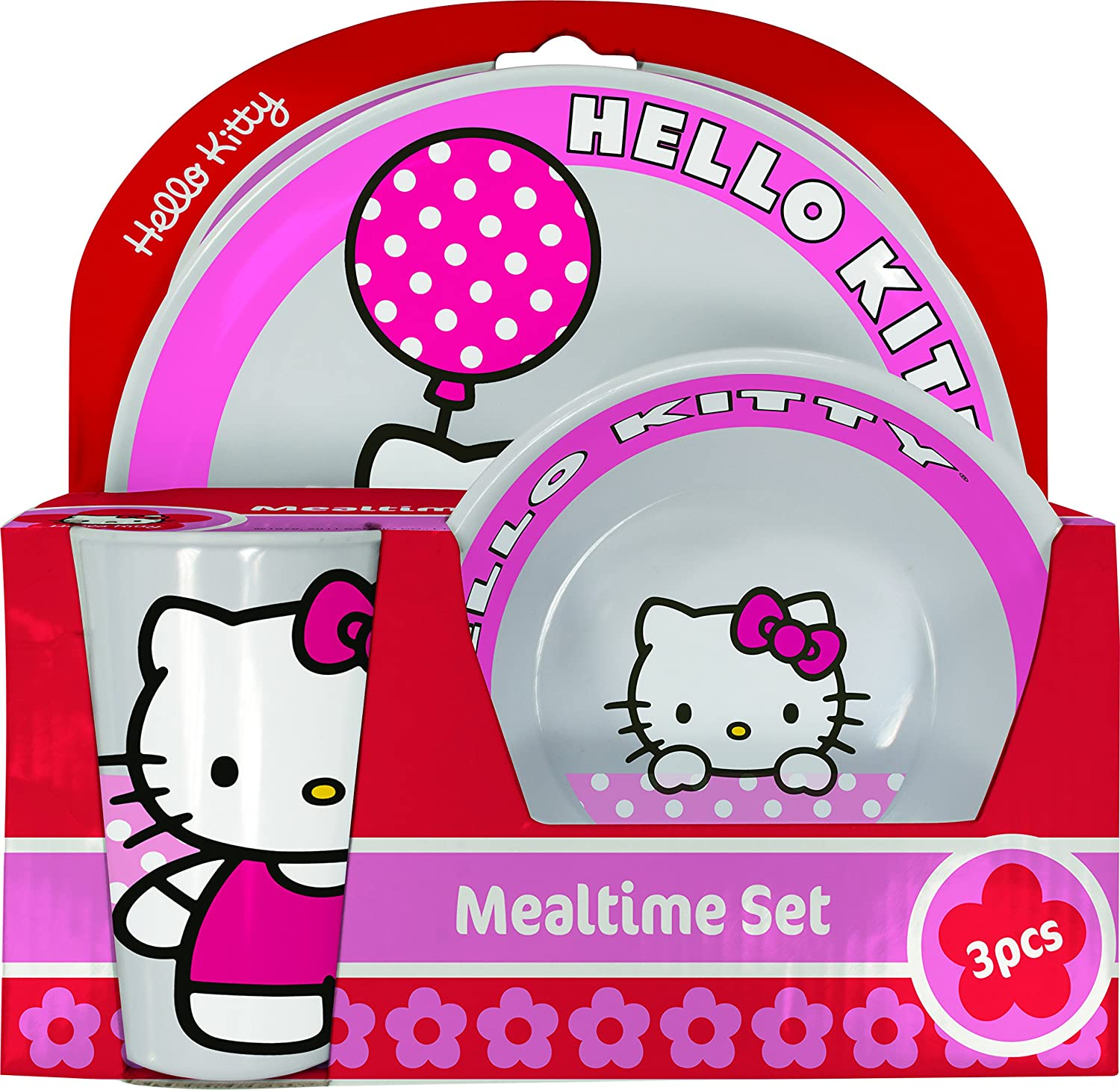 Hello Kitty BBS GO ON - Vajilla infantil, 3 piezas, estampada: Amazon.es: Hogar