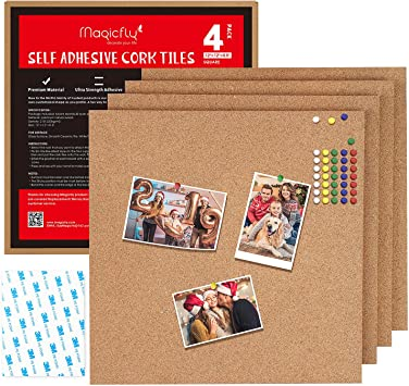 "12/"" x 12/"" Cork Board Tiles Cork Board Bulletin Board Mini Wall 8 Pack Stick on"