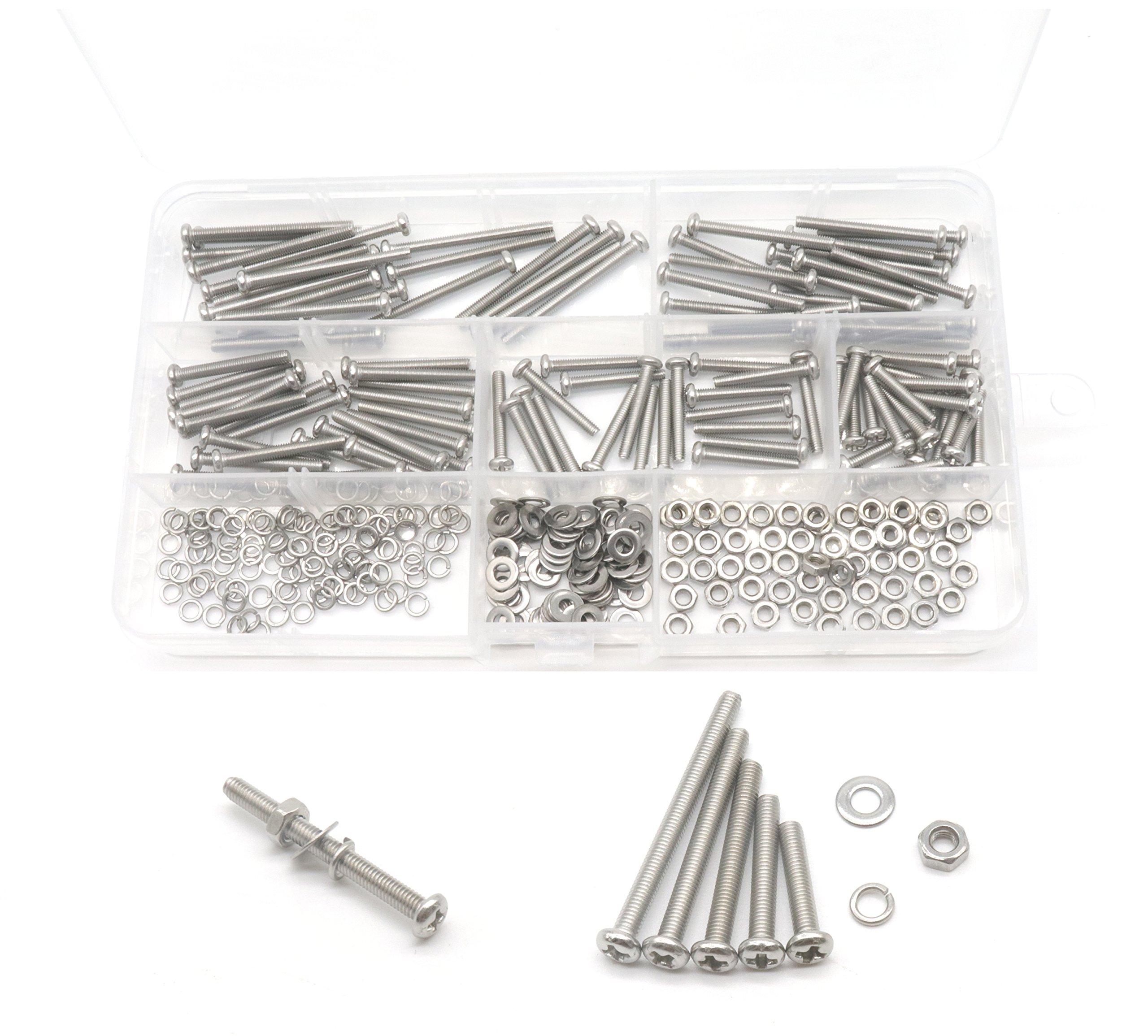 cSeao 340pcs Pan Phillips Head M3 Screws Nuts Washers Assortment Kit, M3x16mm/20mm/25mm/30mm/35mm, 304 Stainless Steel