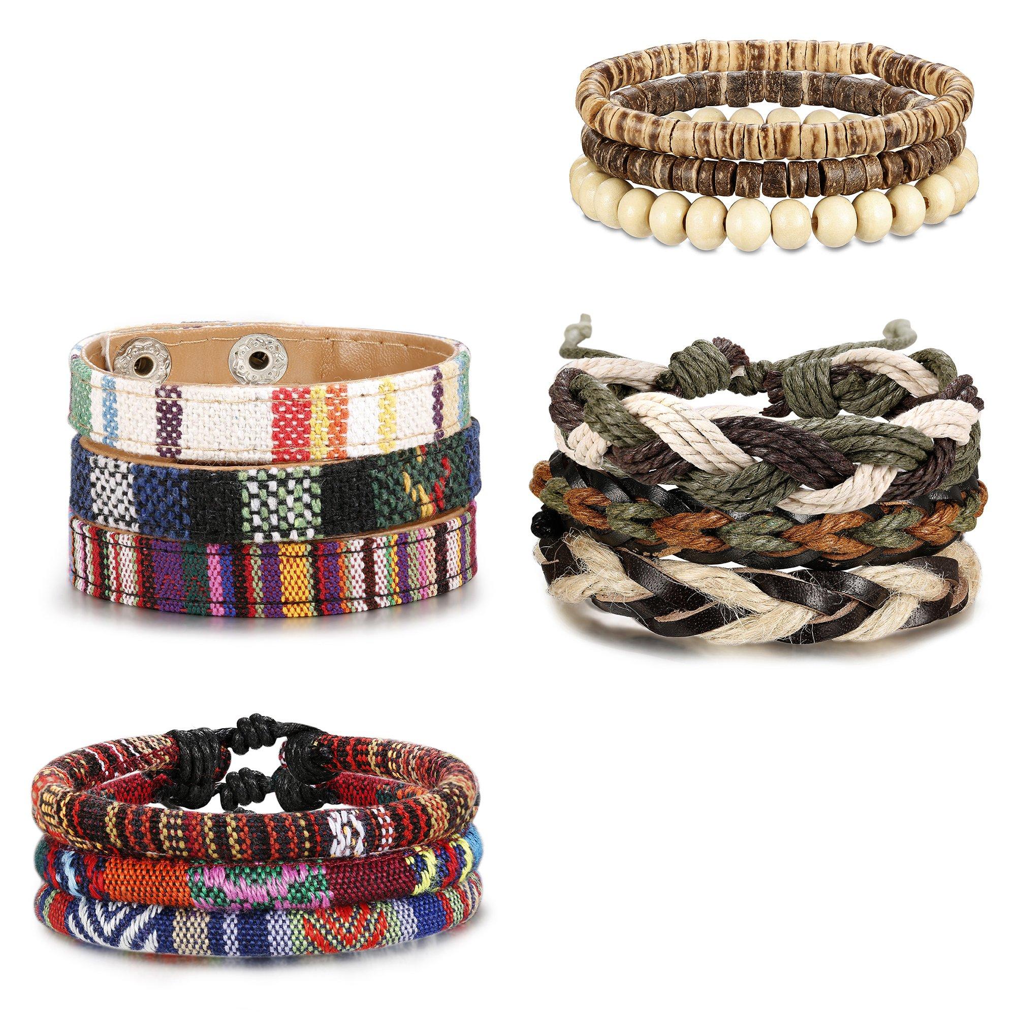 Jstyle 6-12Pcs Wrap Bracelets for Women Men Hemp Cords Ethnic Tribal Bracelet Wooden Beads Leather Bracelets Wristbands by Jstyle (Image #2)